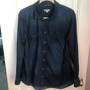 Merona denim long sleeve blouse size XL